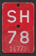 Velonummer Schaffhausen SH 78 - Plaques D'immatriculation