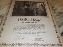 ANCIENNE PUBLICITE PATHE BABY LE CINEMA CHEZ SOI 1923 - Photography