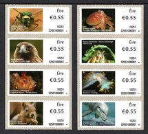 IRELAND 2010 Irish Animals & Marine Life (1st Series): Set Of 2 Strips Of 4 Labels UM/MNH - Nuevos