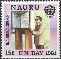 NAURU 1981 UN Day. ESCAP - 15c Inaugural Speech MH - Nauru