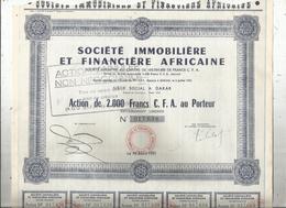 Action De 2000 Francs C.F.A., Société Immobilière Et Financière Africaine , Dakar , 1951 , Frais Fr 1.95 E - Actions & Titres