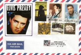 Lettre De Petit St Vincent (Caraïbes) Caribbean. Hommage à Elvis Presley, Sur Lettre Adressée Aux Etats-Unis - St.Vincent (1979-...)