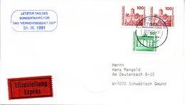"""(Gm3) BRD Stempel-Beleg """"Letzter Tag Des Sondertarifs VERKEHRSGEBIET OST""""  MiF Deutsche Post (DDR) TSt 31.3.1991 LEIPZIG - BRD"""