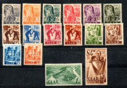 GERMANIA -SARRE 1947 - Valori In Pfennig. Carta Giallastra. 16val.  (*) - UNIF. 196-215 - Neufs