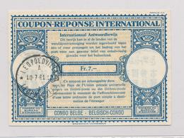 012/27 - COUPON REPONSE INTERNATIONAL (CRI) 7 Francs Du Congo Belge - Léopoldville 1961 - Entiers Postaux