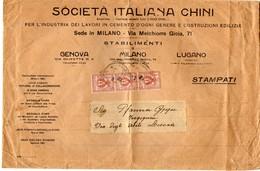 ##(ANT1)-1911 -Sacchetto Intestato Società  Italiana Chini-lavori In Cemento E Costruzioni Da Milano Per  Lucca - Italy