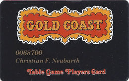 Gold Coast Casino Las Vegas - Table Game Players Card With BLACK Reverse - Casino Cards