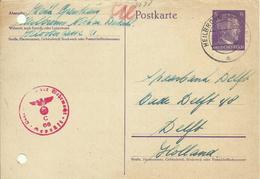 1942  Zensurierte Postkarte Von Heilbronn Nach Delft, Holland - Deutschland