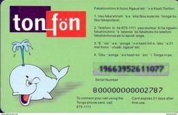 Used Phone Cards Tonga , Tonfon Open Green 20T$ (whale) - Tonga