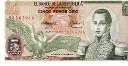 Colombia P.406  5  Pesos 1977 Unc - Colombia