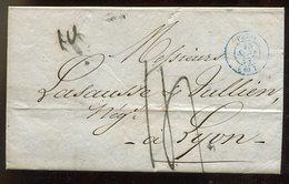 Frankreich / 1838 / Vorphila-Bf. Blauer K2-Stempel PARIS Nach Lyon (14231) - Poststempel (Briefe)