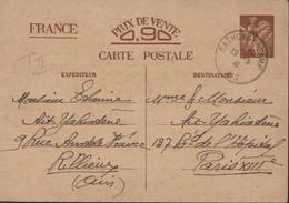 Guerre 39 45 Armée Armistice Carte Interzone Iris Sans Valeur Camp Sathonay 19 5 41 Pour Paris - Guerra De 1939-45