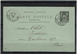 EP - SAGE 10c PARTIE REPONSE  DATE 813 PARIS DISTRIBUTION 28/11/1898 NON ECRITE AU DOS - Standard Postcards & Stamped On Demand (before 1995)
