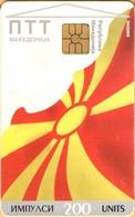 Macedonia - PTT Makedonija, Macedonian Flag, 200U, 20.000ex, 10/96, Heavily Used As Scan - Macedonia