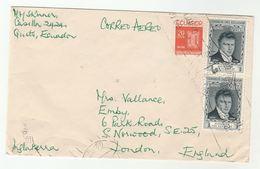Air Mail ECUADOR COVER Stamps Alexander Von Humboldt , Worker Protection To GB - Ecuador