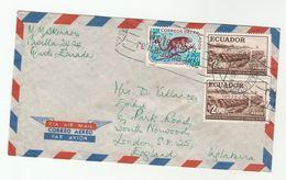 Air Mail ECUADOR COVER Stamps KINKAJOU , BRIDGE  To GB - Ecuador