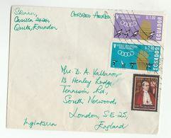 Air Mail ECUADOR COVER Stamps POPE PIUS XII, BOLIVARIAN GAMES To GB  Sport Religion - Ecuador