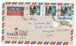 1985 NEPAL COVER YAK & YETI HOTEL Kathmandu To GB Panther, Mount Langtang Lirung Mountain Stamps Airmail - Nepal