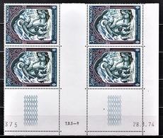 MONACO 1974 - BLOC DE 4 TP  N° 956 COIN DE FEUILLE / DATE - NEUFS ** - Monaco