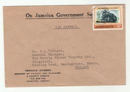 1972 JAMAICA GOVERNMENT COVER Ministry Of FINANCE TRAINING  To GB  Railway Steam Train Stamp - Jamaica (1962-...)