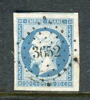 Superbe N° 14Af Bleu Laiteux Grandes Marges - Cachet PC 3652 ( Vire ) - 1853-1860 Napoléon III