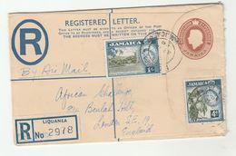 1958 REGISTERED POSTAL STATIONERY Liquanea JAMAICA To GB Uprated 1/-  4d Stamps  On 2d COVER - Jamaica (1962-...)