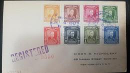 O) 1947 COSTA RICA, FRANKLIN D. ROOSEVELT, FULL SET, COVER REGISTERED TO USA - Costa Rica
