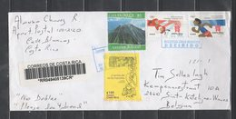 Registered Cover Costa Rica To Belgium 2012 Olimpics Volcano - Costa Rica