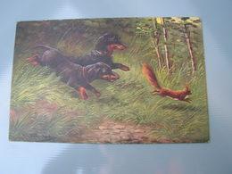 Dackel, Jagd Kunst Karte  1912 - Hunde