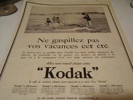 ANCIENNE PUBLICITE VOS VACANCES AVEC  VOTRE KODAK 1923 - Photography