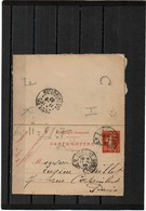 EP - CL SEMEUSE CAMEE 10c D 713 CIRCULEE 11/6/1907 - Cartes-lettres