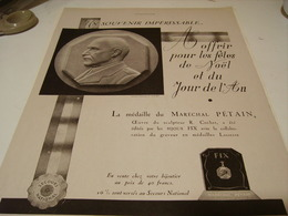 ANCIENNE PUBLICITE SOUVENIR IMPERISSABLE MARECHAL PETAIN 1941 - Bijoux & Horlogerie