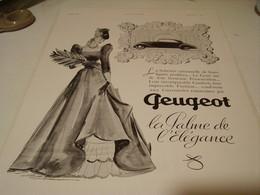 ANCIENNE PUBLICITE VOITURE  PEUGEOT LA PALME DE L ELEGANCE  1939 - Transportation