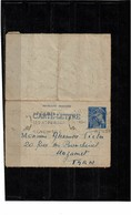 EP - CL MERCURE 1fr ARGENTEUIL / MAZAMET 13/2/1940 - Cartes-lettres