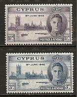 Chypre Cyprus 1946 Paix Peace Set Complete M * - Chipre (República)