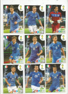 G-I-E , Trading Cards , Carte PANINI , Football , FIFA WORLD CUP , BRASIL , Brésil 2014 , ITALIA , LOT DE 9 CARTES - Trading Cards