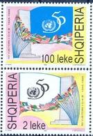 AL 1995-2565-8 50A°ONU, ALBANIA, 1 X 2v, MNH - Albanien