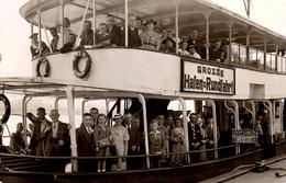 Carte Photo Originale Port De Hambourg (Hamburg) En 1938 - Bienvenu à Bord Du Grosse Hafen-Rundfahrt - Passagers - Schiffe