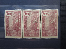 VEND BEAUX TIMBRES DE GUADELOUPE N° 56 EN BANDE DE 3 , XX !!! - Unused Stamps