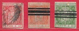 Espagne N°24 6c Carmin, N°25 2R Vermillon, N°26 5R Vert 1854 O - 1850-68 Royaume: Isabelle II