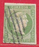 Espagne N°42 2c Vert (sans Filigrane) 1857-60 O - 1850-68 Royaume: Isabelle II