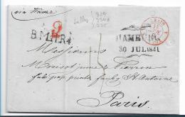 HH011 /  Hamburg, B.M.M.R.4, Schiffspost 1841 Via Le Havre Nach Paris - Duitsland