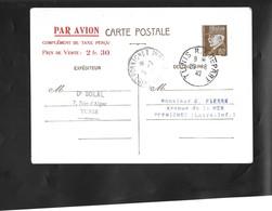 Entier Carte Postale Par Avion . Oblitérée 1942 De Tunis Pour Pornichet . - Poste Aérienne