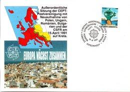 """(Gm3) Griechenland Sonder-Umschlag """"Sitzung Der CEPT-Postvereinigung"""" EF SSt 16.4.1991 Limenas Kreta - Post"""