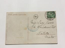 """""""DISINFECTED LAZARETTO MALTA 1907 !"""" On PPC From Egypt (cover Purifié Malte Egypte Lettre Mail - Malte"""