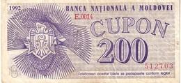 Moldova P.2 200 Cupon 1992 Vf - Moldavia