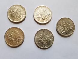 Lot De 5 Pièces De 5 Francs Argent Semeuse 1961 , 1962 Et 1963 - Francia