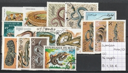 Slangen - 16 Zegels Gestempeld/oblitéré/used & Postfris/neuf/MNH - Serpents