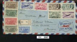 BM2087, Libanon, 1950, Beyrouth - Rottweil A. Neckar, 435A- 445A, Auf Luftpostbrief - Libanon