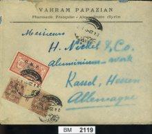 BM2119, Syrien, 1922, Alexandrette (Syrie) - Kassel, Bedarfsbrief Mit 125, 130 Paar Mit Bogenplattennummer - Syria